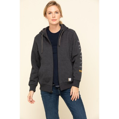 Ariat Women's Charcoal Heather Rebar All-Weather Zip Hoodie For Work - Women's Jackets Recommendations P2E5L7137