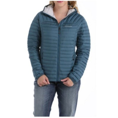 Cinch Women's Teal Mid-Weight Hooded Quilted Down Jacket - Women's Jackets XZ6W04970