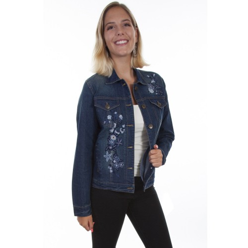 Honey Creek by Scully Women's Floral Embroidery Denim Jacket Go Outdoors - Women's Jackets Top Sale C8C0T4261