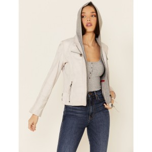 Mauritius Leather Women's Nola White Zip-Front Hooded Leather Jacket - Women's Jackets  Cheap 6860F9964