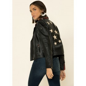 Mauritius Women's Christy Scatter Star Back Leather Jacket Go Outdoors - Women's Jackets  Fashion UW8Q46803