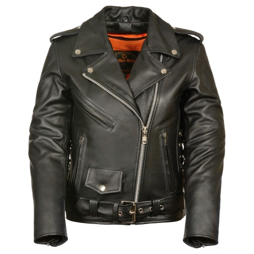 Milwaukee Leather Women's Full Length Side Lace Leather Motorcycle Jacket Lightweight - Women's Jackets on sale online UV77G5312