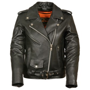 Milwaukee Leather Women's Full Length Traditional Leather Police Jacket - Women's Jackets  For Sale JBWKF759