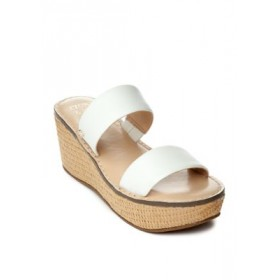 Crown & Ivy™ Caroline Double Band Sandals WHITE LEAT - Women's Flats Recommendations XYJN545
