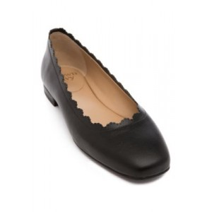 Crown & Ivy™ Square Toe Scalloped Top Line Flats BLACK - Women's Flats New PDYH771
