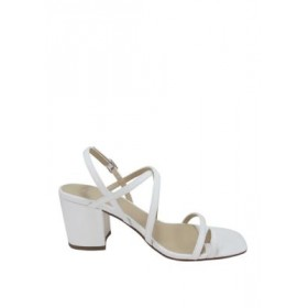 Jellypop Wish Square Toe Strappy Block Heel Sandals White Luxury - Women's Flats In Store KNBL140