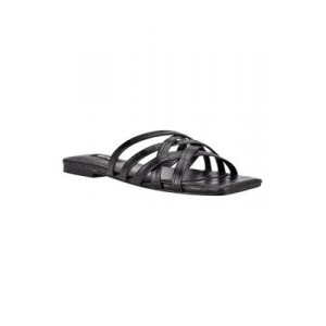 Nine West Halen Square Toe Strappy Sandals Black Textured For Narrow Feet - Women's Flats At Target ORJP725