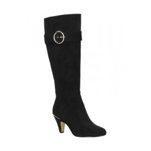 Bella-Vita Braxton Plus Athletic Shafted Tall Boots Black Suede Wide Calf - Women's Boots AFAX526