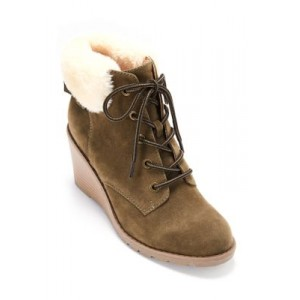 New Directions® Wendy Wedge Fur Booties OLIVE - Women's Boots outfits DZWV480