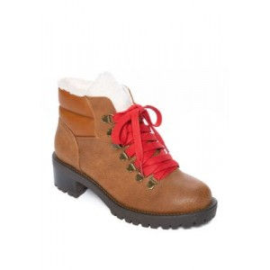 TRUE CRAFT Shearling Hiker Booties COGNAC PU/RED LACES - Women's Boots The Best Brand FUYV973