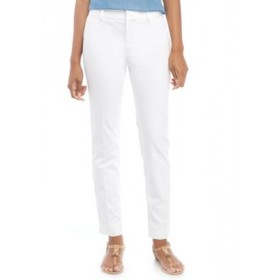 Crown & Ivy™ Women's Cary Bi Stretch Fly Front Pants White Casual - Women's Pants Fit PODD813