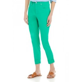 Crown & Ivy™ Women's High Rise Skinny Rolled Cuff Cropped Denim Pants Green Leaf Work - Women's Pants new in VTUX382
