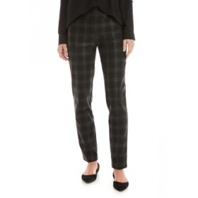 New Directions® Women's Foiled Black Plaid Pants Foiled Black Plaid Work - Women's Pants NBBW293