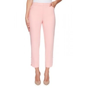 Ruby Rd Women's Fly Front Double Stretch Pleated Ankle Pants Petal Pink Office - Women's Pants EOAE459