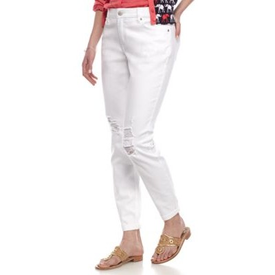 Crown & Ivy™ Destructed Straight Leg Jeans White - Women's Jeans outfits UMKI578