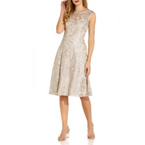 Adrianna Papell Women's Sleeveless Sequin Embroidered Fit and Flare Dress Marble - Women's Capris The Best Brand BASE222