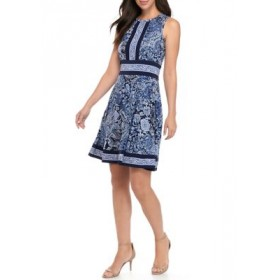 MICHAEL Michael Kors Women's Sleeveless Paisley Fit and Flare Dress with Border True Navy Unique - Women's Capris 2021 Trends AJBB478