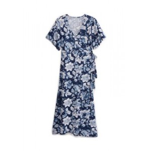 New Directions® Women's Wrap Front Midi Dress Patriotic Blue For Weddings - Women's Capris outfits PYNF437