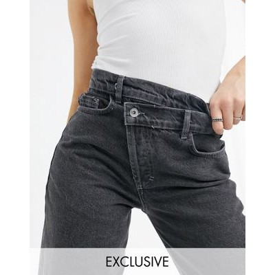 COLLUSION x014 90s baggy dad jeans with stepped waistband in washed black 29 Inch for Young Women Casual ZEIL412