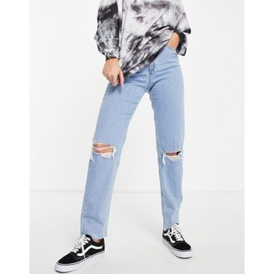 DESIGN high rise farleigh 'slim' mom jeans in lightwash with rips Size 7 for Young Women cool designs FJRR585
