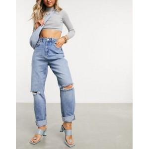 DESIGN High rise 'Slouchy' mom jeans in midwash with rips Good Quality Cost GWUL857