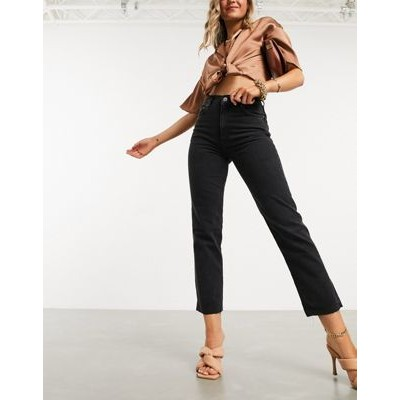 DESIGN high rise stretch 'effortless' crop kick flare jeans in black 29 Inch for Women RIPW447