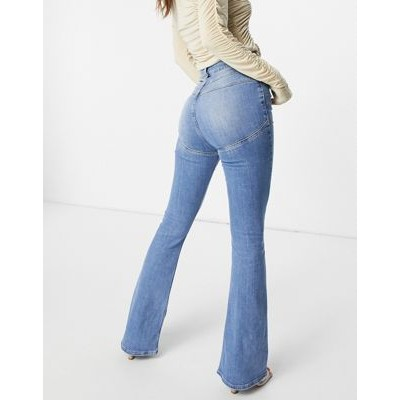 DESIGN Hourglass high rise lift and contour flared jeans in bright wash for Women's Discount ZENA603
