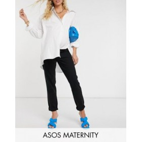 DESIGN Maternity high rise 'original' mom jeans in black with elasticated side waistband GKIU811
