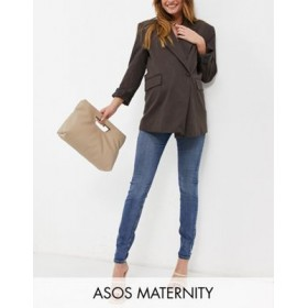 DESIGN Maternity high rise ridley 'skinny' jeans in authentic midwash with under the bump waistband Fashion KLVI236