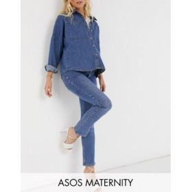 DESIGN Maternity high rise 'sassy' cigarette jeans in authentic midwash with elasticated side waistband Fitted MVQU649