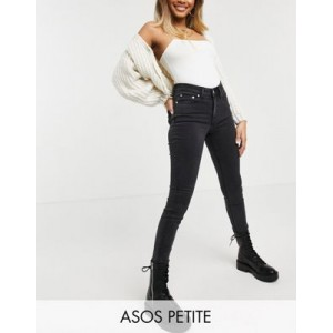DESIGN Petite high rise ridley 'skinny' jeans in washed black Clearance Sale OVZC581