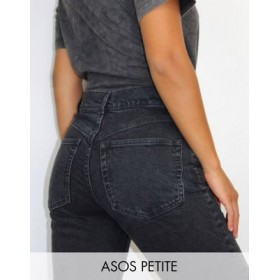 DESIGN Petite High rise stretch 'slim' straight leg jeans in black Size 32 for Women on clearance HGSM930