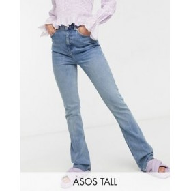 DESIGN Tall high rise '70's' stretch flare jeans in lightwash Size 32 for Women fashion guide OJAN161