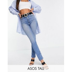 DESIGN Tall high rise 'sassy' cigarette jeans in bright midwash Size 28 for Young Women on sale near me DROR572