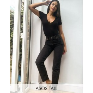 DESIGN Tall high rise stretch 'effortless' crop kick flare jeans in black for Women JEXS600