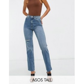 DESIGN Tall high rise stretch 'effortless' crop kick flare jeans in midwash with thigh rip QZKK183