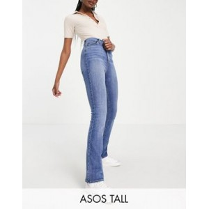 DESIGN Tall high rise 'Y2K' stretch flare jeans in vintage midwash 29 Inch for Women New Look ISKB993