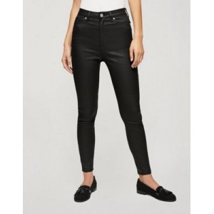 Miss Selfridge Lizzie coated high waist skinny jeans in black Size 7 for Young Women comfortable VVZH520