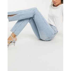 Missguided high-waisted straight jean with side slit in blue 27 Inch Leg for Women's good quality PAWH830