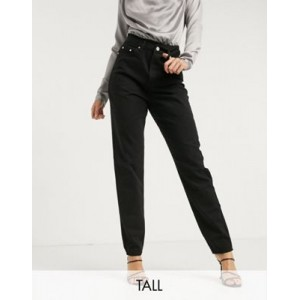 Missguided Tall riot highwaisted recycled denim mom jeans in black Cost QASB655