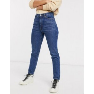 Monki Kimomo high waist mom jeans with organic cotton in dusty blue 29 Inch for Women WZWT457