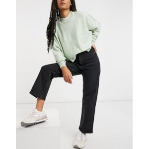 Monki Zami organic cotton high waist straight leg jeans in washed black for Young Women At Target QNXT419