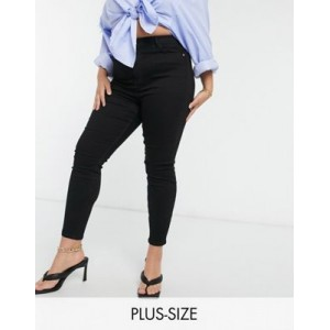 River Island Plus high rise skinny jeans in black new look EHSV904