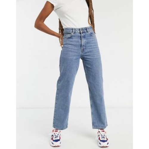 Selected Femme Kate organic cotton straight leg jeans with high waist in blue 26 Inch Waist for Young Women Trends 2021 XJFT698