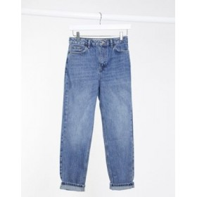 Topshop clean mom jeans in mid wash blue for Women comfortable KDKY866