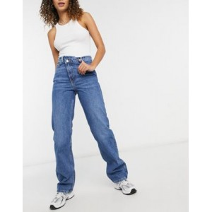 Weekday Skew straight leg jeans with cross over fly in mid wash QCJK986