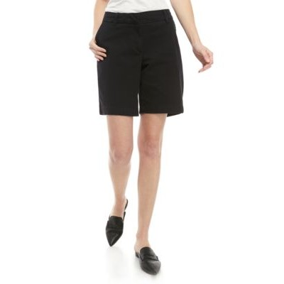 Crown & Ivy™ Caroline Solid Shorts Black Fit - Women's Shorts Clearance OGZY894