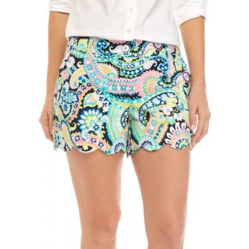 Crown & Ivy™ Women's Scalloped Printed Shorts Navy Paisley - Women's Shorts New Look GRAE614