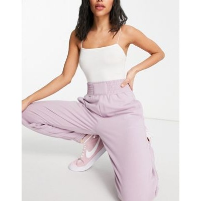 Bershka oversized sweatpants with waistband detail in pink Custom for Women in new look KLLB522
