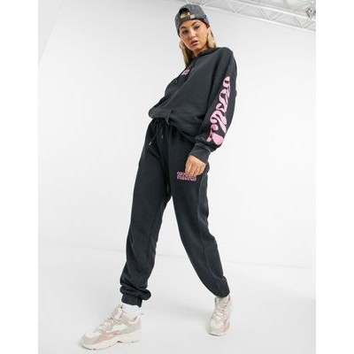 Crooked Tongues set oversized sweatpants with logo print in acid wash charcoal on clearance MXGS692
